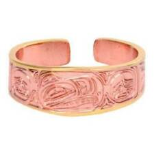 Solid Copper Ring Eagle Northwest Native Gold Jewelry Adjustable Etched Design