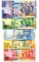 GHANA SET 5 pcs 2014-2017 1 2 5 10 20 CEDIS UNC-NEW