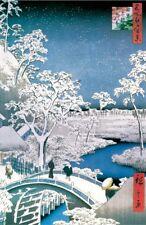 HIROSHIGE - DRUM BRIDGE IN SNOW - FINE ART POSTER 24x36 - 46553