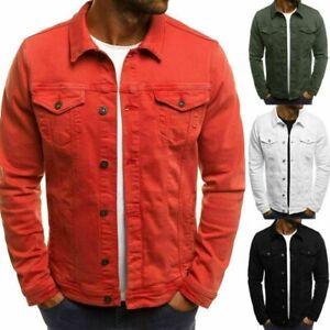 Mens Denim Jeans Jacket Short Slim Fit Classic Retro Vintage Washed Jackets Coat