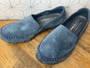 Skechers Alumni Relaxed Fit Suede Slip-On Shoes 10 W Navy 10W