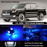 17PCS Blue Interior LED Bulbs For 2006-2013 Honda Ridgeline White for License