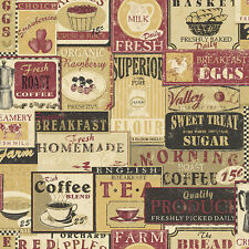 G12297 - Kitchen Recipes Tea Coffee Labels Beige Red Galerie Wallpaper