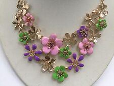 Betsey Johnson Crystal RHINESTONE Enamel FLOWER Bib CHOKER Necklace Pendant
