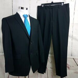 Apt. 9 Modern Fit 42S 2 Button Black Striped 2pc Suit 33x30 Flat Front