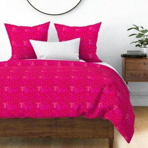 Watermelon Seeds Fruit Red Magenta Summer Sateen Duvet Cover by Roostery