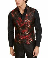 Tallia Mens Suit Jacket Red Size 38 Button Front Metallic Floral Vest $125 #329