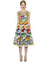 New Arrival Baroque Pottery Printed Linen Dress Vacation Dress 160917LU02