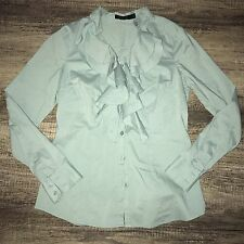 The Limited Small Essential Ruffle Mint Green Blouse Button Down