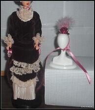 DRESS HAT  BARBIE VICTORIAN LADY DOLL VELVET BURGUNDY GOWN LACE TRIM BLACK SHOES