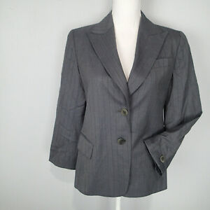 Lafayette 148 Career Work Suit Wool Blazer Womens Sz 8p Gray stripes jacket
