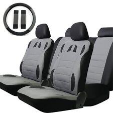 Grey Full Seats 13 Pcs PU Leather Racing Car Seat Cover Set Cushion Padded Mat