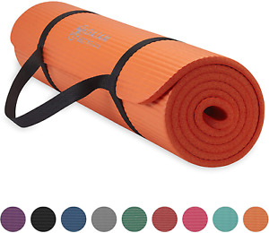 Gaiam Essentials Thick Yoga Mat Fitness & Exercise Mat with Easy-Cinch Yoga Mat