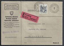Switzerland covers 1939 franked Fieldpost Express cover Montalchez to St.Gallen