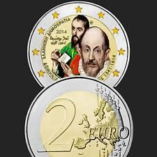 Griechenland Greece 2 Euro Gedenkmünze 2014 Unc. El Greco Farbe,Gekapselt
