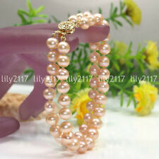 Beautiful Natural 2 Rows 7-8mm Pink Freshwater Pearl Gems beads Bracelet 7.5''