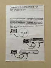 Commodore 64/128/16/+4  instructions leaflet for 1531 cassette unit