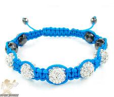 Mens Magnetite Macramé  Bead Bracelet White Rhinestone Blue Rope 5.00ct