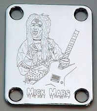 GUITAR NECK PLATE Custom Engraved Etched - MICK MARS Motley Crue - CHROME