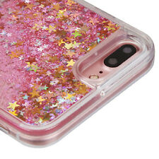 For iPhone 7 PLUS - Gold Stars Pink Glitter Sparkle Liquid Water Skin Case Cover