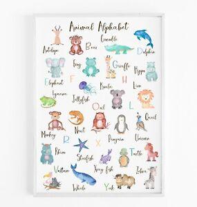 Animal Alphabet Print - Educational Print - ABC Nursery Wall Art - Nursery Decor