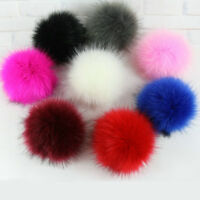 5inch Elegant Faux Raccoon Fur Pom Pom Ball With Press Button For Knitting Hat