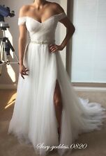 Bohemian Off Shoulder Beach Wedding Dresses Simple Tulle Boho Slit Bridal Gown