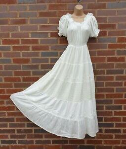 Boho Peasant Maxi Dress Empire Waist Embroidered Off White Color S M L XL XXL