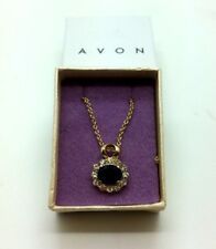 AVON Pendant Necklace Gold Plated Black Stone Jewellery Wedding Acessories Gift