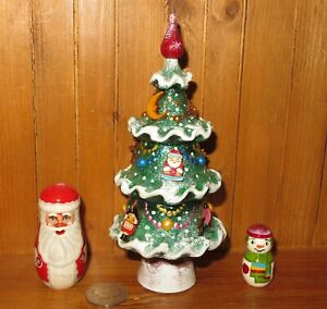 Santa Snowman GREEN Christmas Tree Matryoshka HAND MADE ORNAMENT Russian dolls 3
