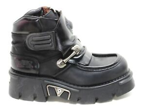 104 Stiefel Plateau Gothic Leder Boots New Rock Planet Metall Original Klett 45