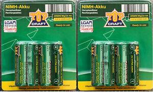 2x4 TopCraft NiMH AKKU Wiederaufladbar Sofort einsetzb. Größe AA / 2300 mAh 1,2V