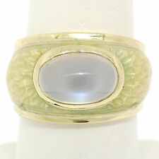 14K Yellow Gold Fine Cabochon Blue Moonstone & Enamel Textured Ring Unique