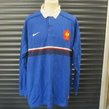 France Nike Rugby Union Shirt Cotton Long Sleeve Late 90s Men's XXL Blue Michel
