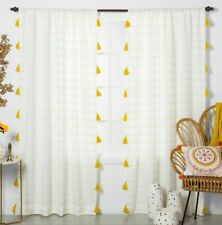 Window Curtain Panel Tassels Contrast Stripe Light Filtering White / Yellow