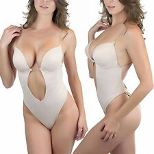 d98bd8d399 Magic Curves Plunge Backless Thong Bodysuit Nude Large 36