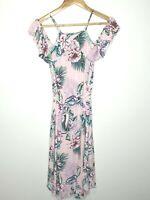 Just Jeans Pink Cold Shoulder Boho Floral Dress Size 10