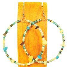 "2"" Stone Chip Aqua Multi Color Bohemian Handmade Bali Seed Bead Hoop Earring"