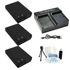 3X EN-EL12 Replacement Battery & USB Dual Charger for Nikon S-620 640 710 800c
