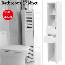 Narrow Wood Bathroom Toilet Storage Rack Cabinet Holder Organizer Cupboard White
