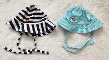 ZUTANO Blue Stripe Set Of 2 Sun Hats 6 Months EUC 100% Cotton Strap Boy Girl