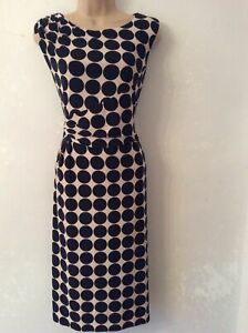 Phase Eight Black Taupe Spot Print Drape Pencil Wiggle Dress UK 14 EU 42 US 10