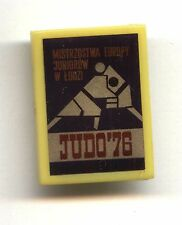 Polish plastic pin button - Junior Judo European Championship Łódź 1976 badge