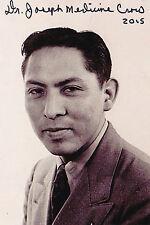Dr. Joseph Medicine Crow Signed 4x6 Photo World War II ETO US Army 103 Infantry