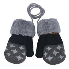 Winter Warm Infant Baby Boy Girl Thick Fur Gloves Mittens with Neck String