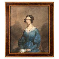Antique French Aquarelle Portrait, Frame, artist: Ludovic Alfred de Saint-Edme