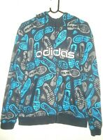 ADIDAS ZIP UP HOODIE SIZE MEDIUM BLUE WITH ASSORTED LOGO'S FREE POSTAGE