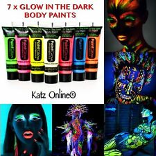 7 X Brillan En La Oscuridad Neon Face & Body Paint 10ml Set De 7 Fluorescente Cera Con Base