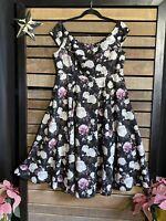 Torrid Black Floral Roses - Scuba Midi - Off Shoulder Dress Plus 1 1x NWT