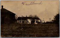 1909 Fruitland IA Old Homes, Train Passing Vtg Iowa RPPC Real Photo Postcard D3